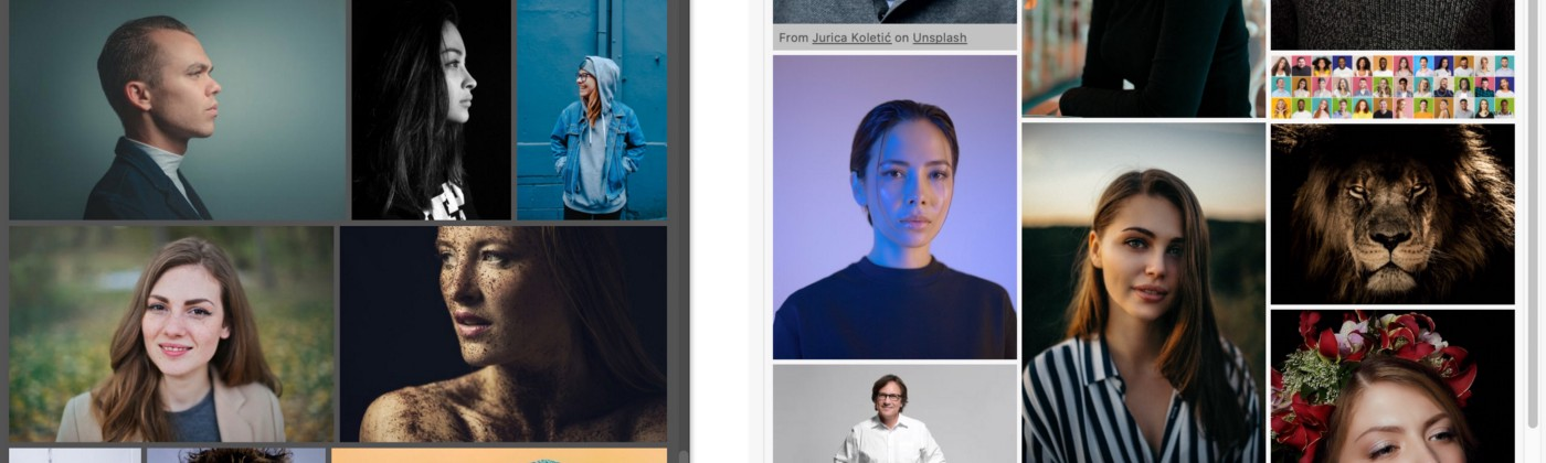 On the left, the CEP panel version of Free Stock Search in Photoshop. On the right, the UXP panel in Adobe XD.