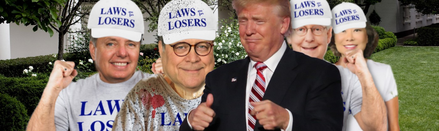 """Trump and GOP politicians posing in """"Laws Are For Losers"""" gear."""