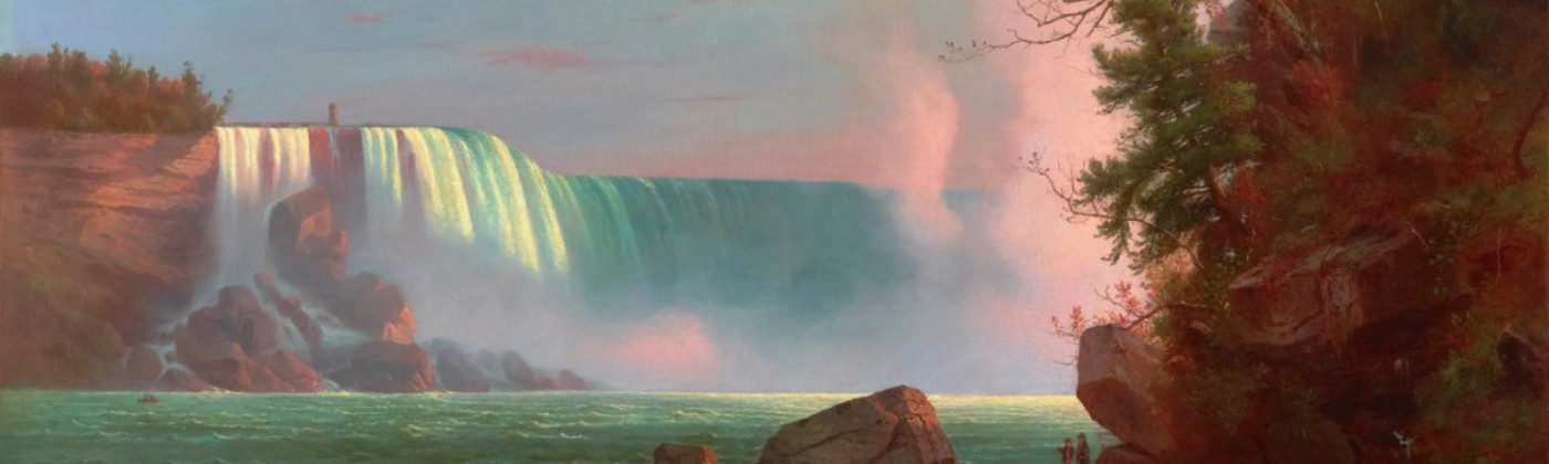 Detail of a painting of bluish green Niagara Falls with a pink mist.