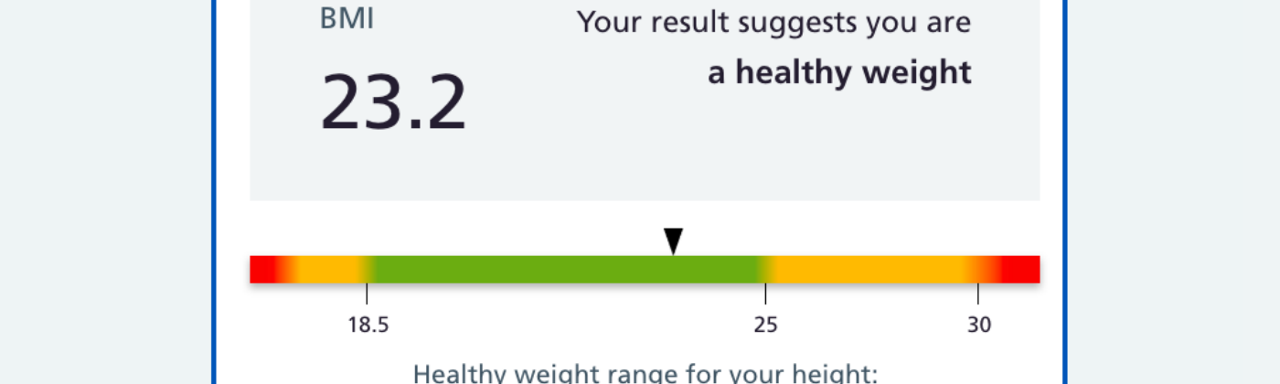 Results from the National Health Service's body mass index calculator showing I'm healthy