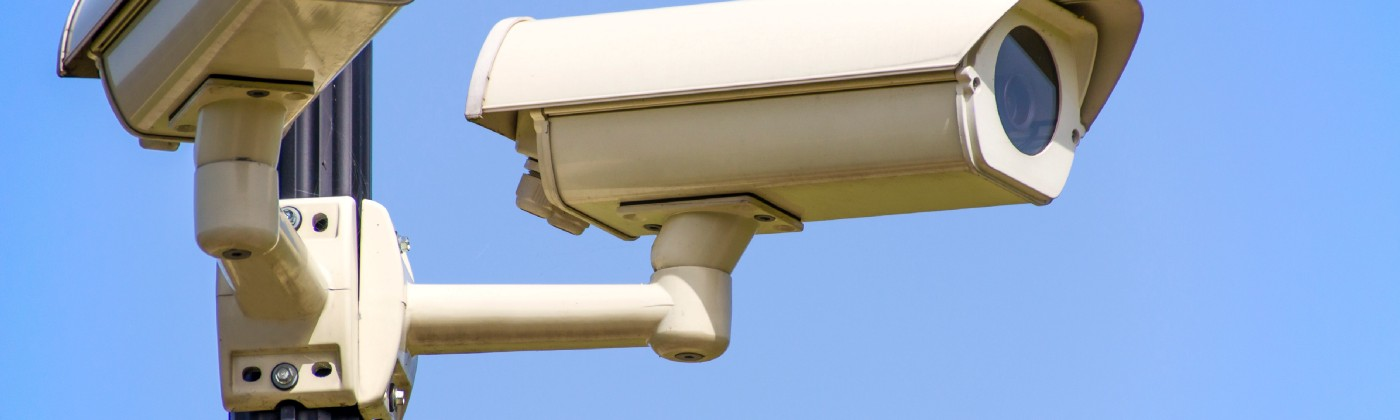 Two CCTV cameras on a pole