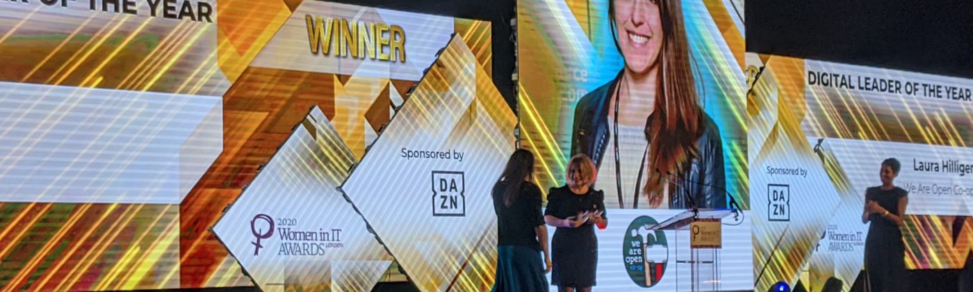 image of laura hilliger winning the digital leader of the year award
