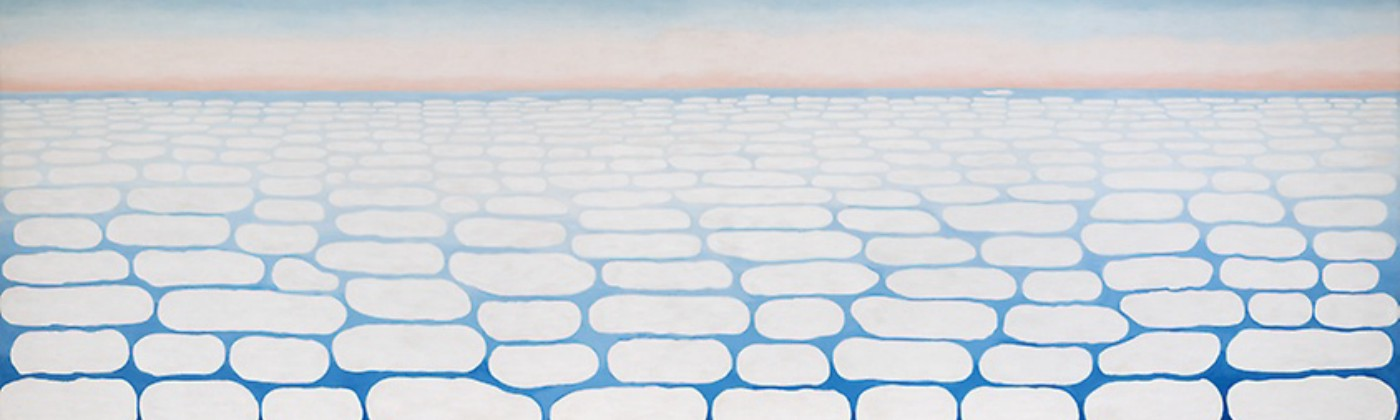 Georgia O'Keeffe painting of Sky Above Clouds IV. It's a gradient of blue and pink with imperfect oval circles: clouds.