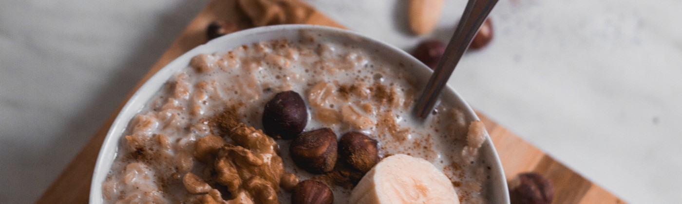 Oatmeal with nuts, fruit, and other delicious flavorings