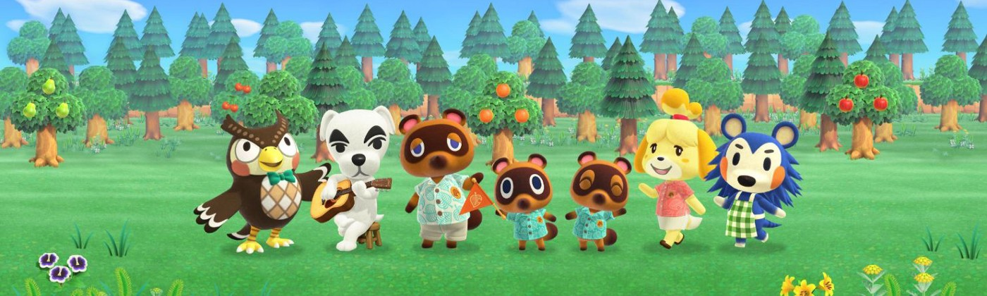 A computer generated image of a group of animals from the game Animal Crossing standing in a field