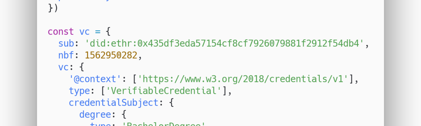 Source code example of Creating Verifiable Credentials