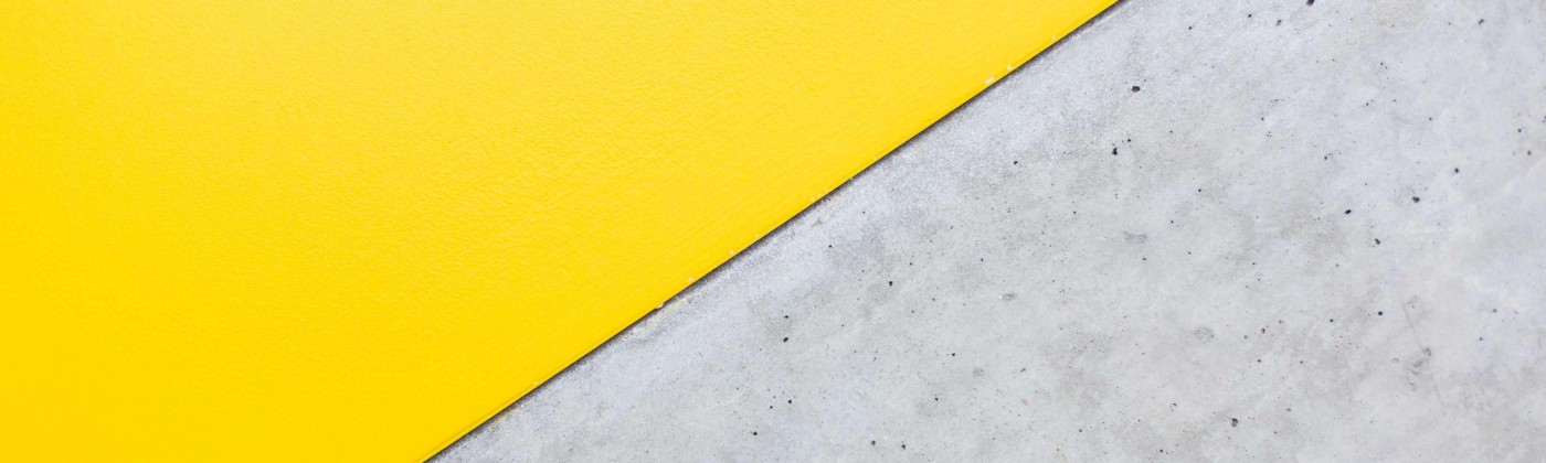 Split image with yellow and grey background