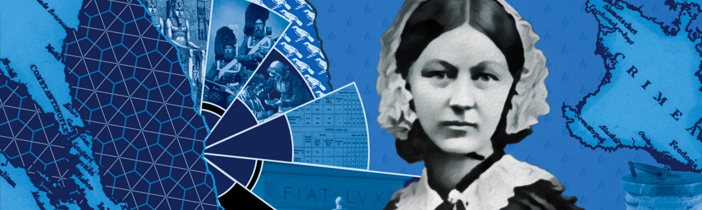 Blue collage of Florence Nightingale imagery.
