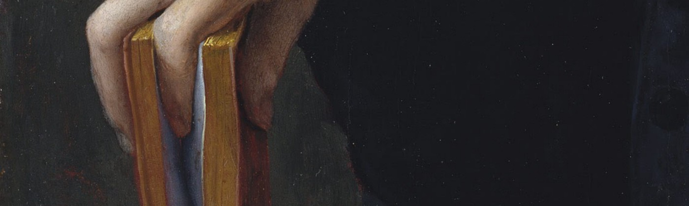 Classical-style painting closeup of soft hand, fingers grasping cover and splitting middle of book, spine against table.