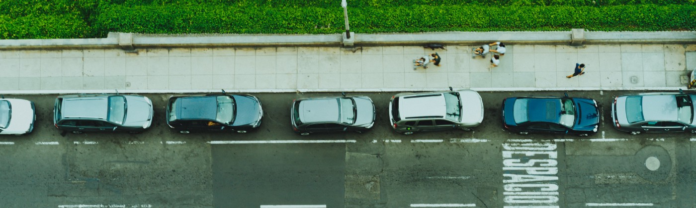 Cars parked along a street