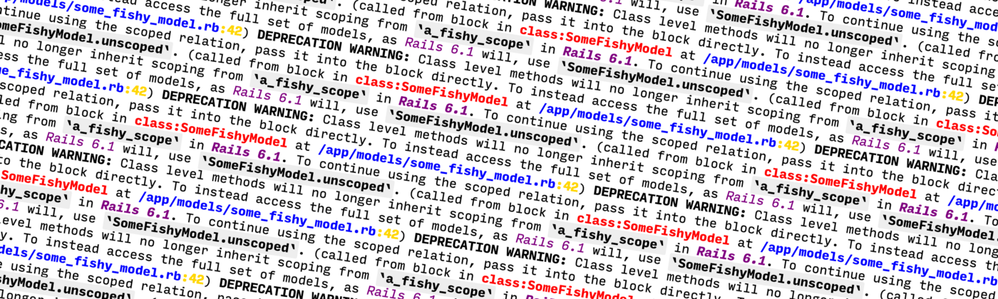 A Rails version upgrade classic: Lots of repeated deprecation warnings.