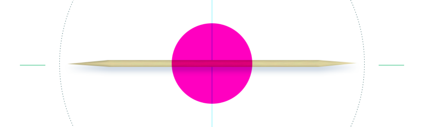 A toothpick with crosshairs