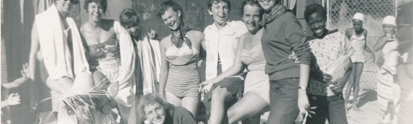 UniCamp counselors in 1958, with Sheila Kuehl at center.