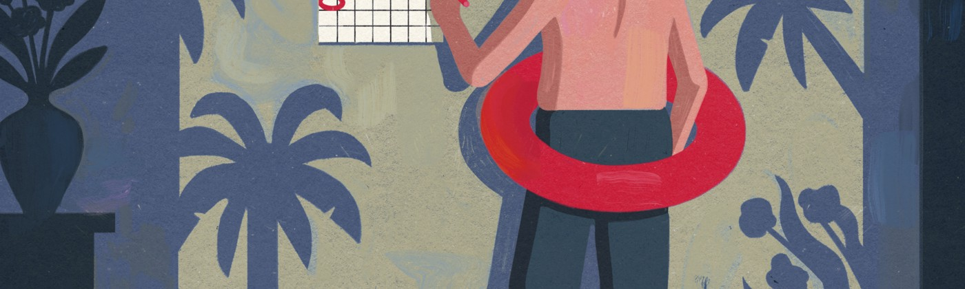 Illustration of a shirtless man in an innertube standingin front of a calendar marking off the weekend days.