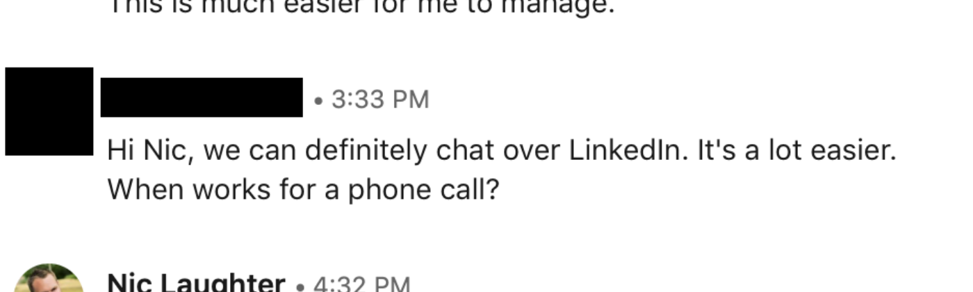 A conversation between a recruiter and myself where she told me a phone call was required to discuss anything about a job