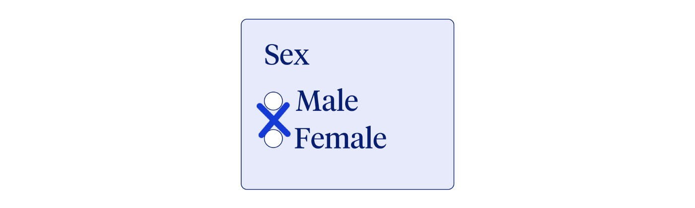 """Field with label """"sex"""" and two radio buttons: male, female. An X is placed in between the options."""