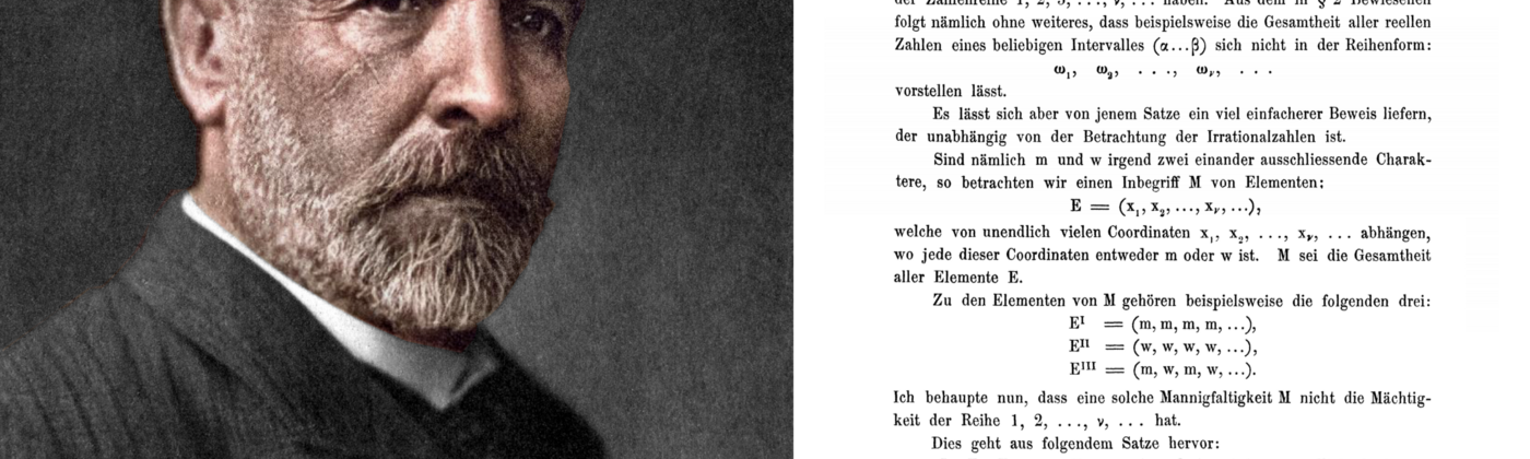Left: Colorized photograph of Georg Cantor. Right: Cantor's publication