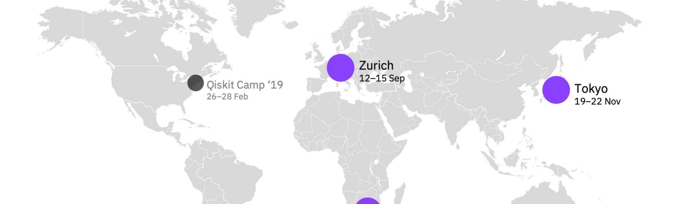 A map of the world with three dots representing the international qiskit camps of 2019