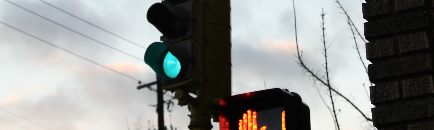 Image shows a lit stoplight that is green for cars, but red for pedestrians.