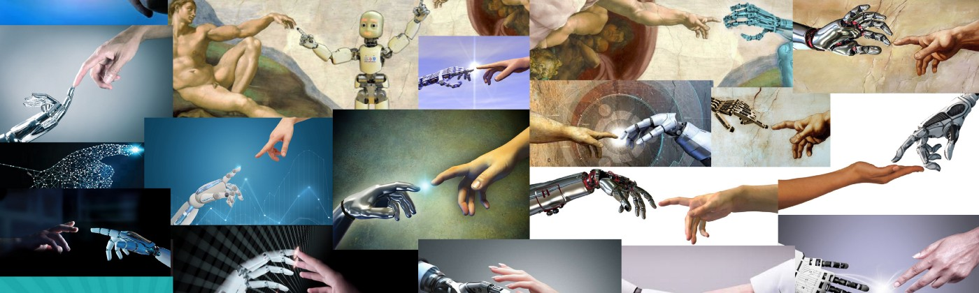 Collage: visually repetitive stock images found online of robot hands divinely reaching out to human hands or shaking hands