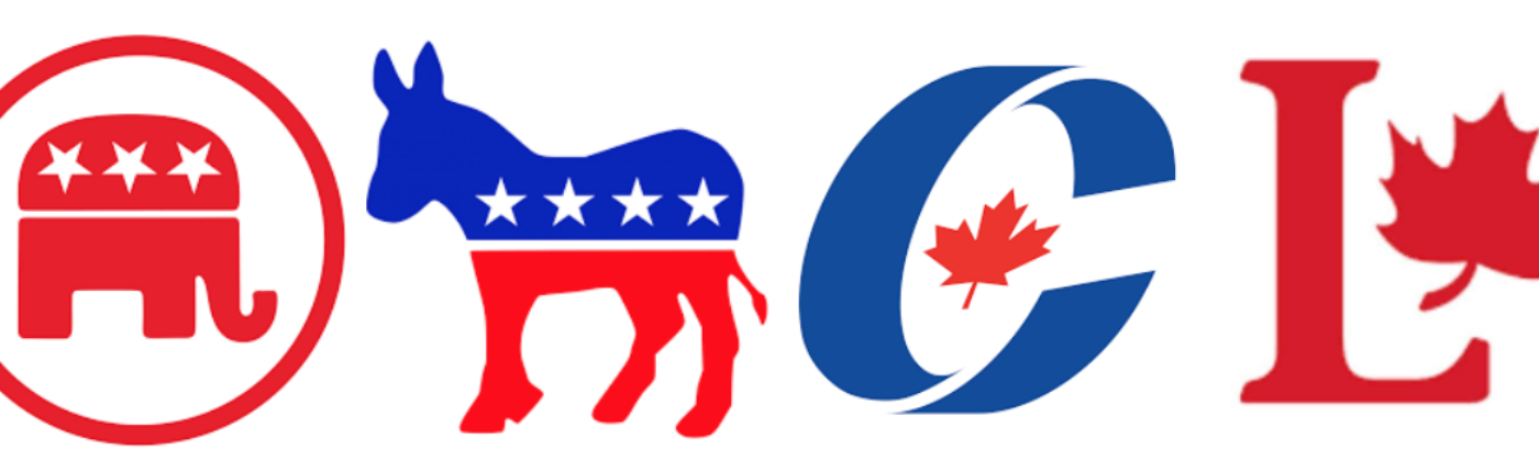 Logos of major US and Canadian political parties