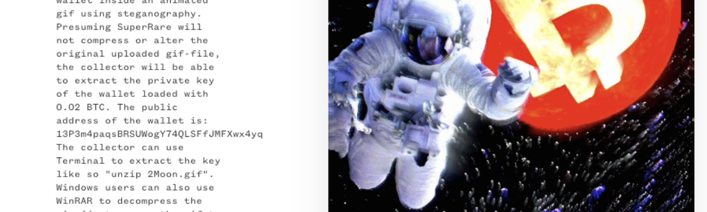 Picture of To The Moon! auction page with description of auction details & image of astronaut & red Bitcoin planet