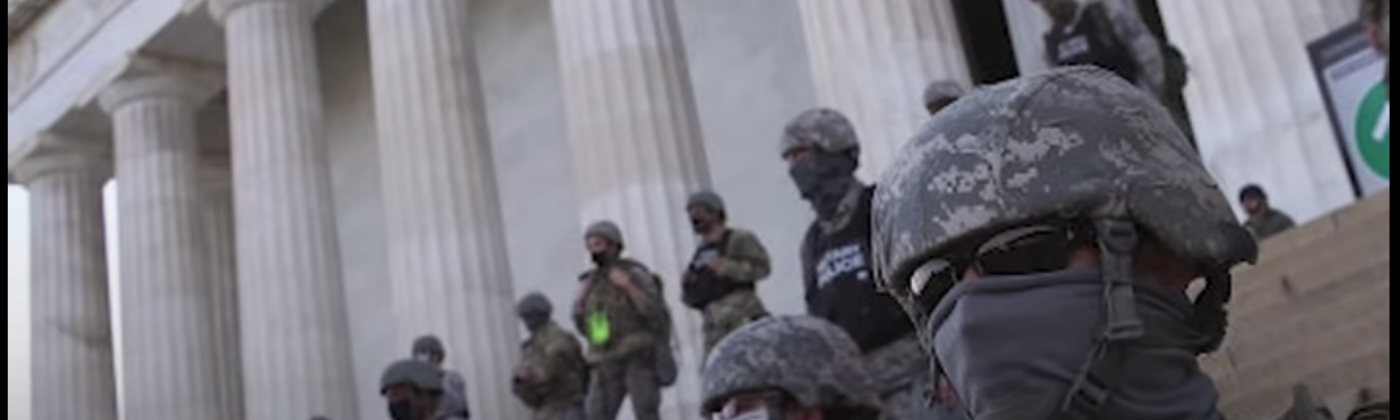 US police officers covering their badges and IDs to hide misconduct crimes against peaceful protesters under Trump's orders