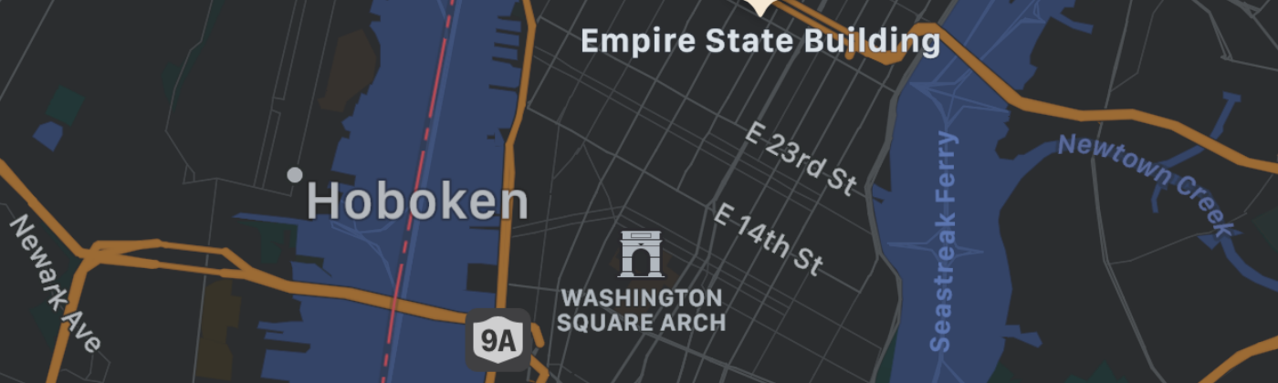Screenshot of four markers on the mapView with custom colors and icons.