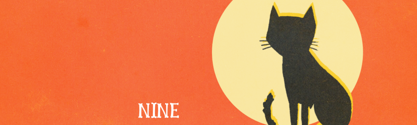 """Graphic with a black cat in front of the moon with text that reads """"Nine Lives"""" and orange background"""