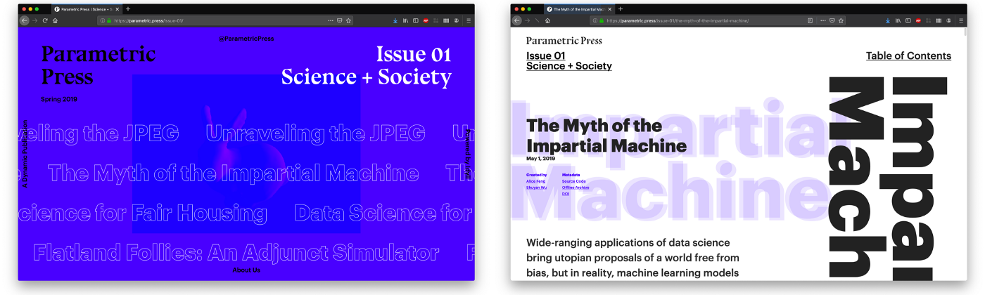 The cover of the first Parametric Press issue (left), and the customized Idyll article templates (right).