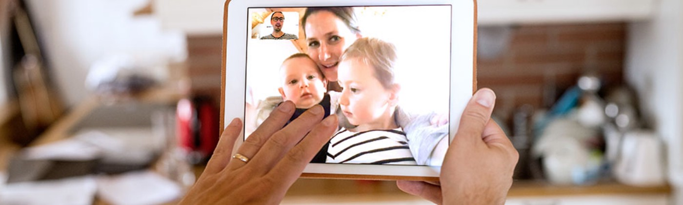 father facetiming with his family