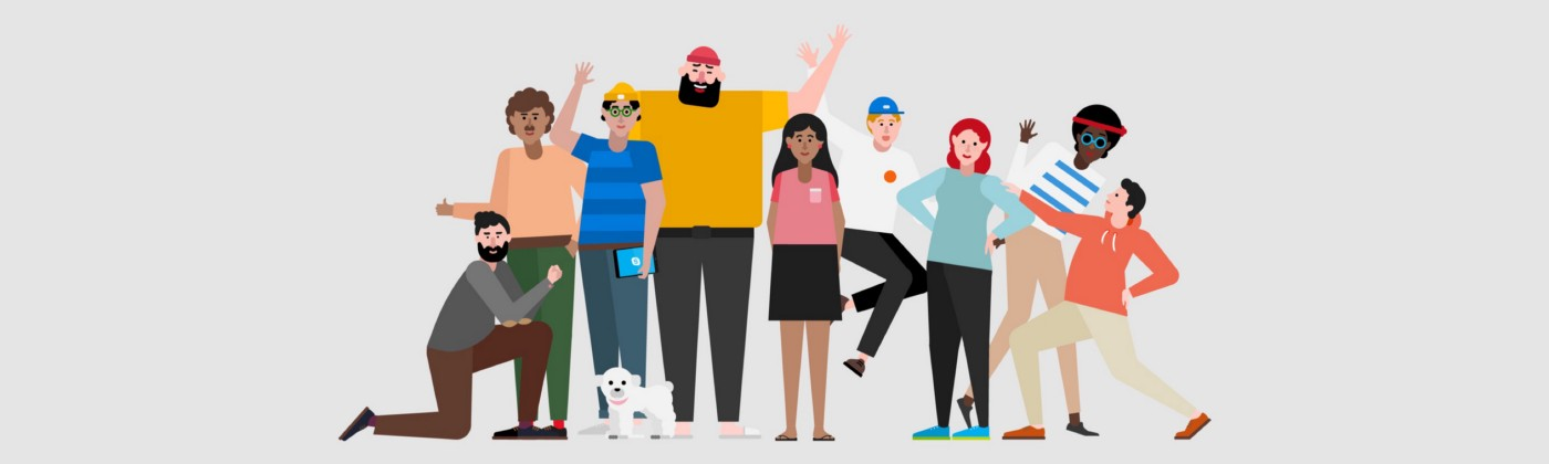An illustration of a diverse and inclusive team from Microsoft Teams