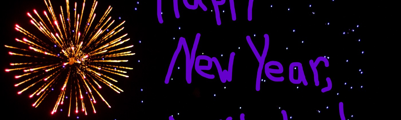 """Fireworks in the sky with text """"Happy New Year, A**holes!"""""""
