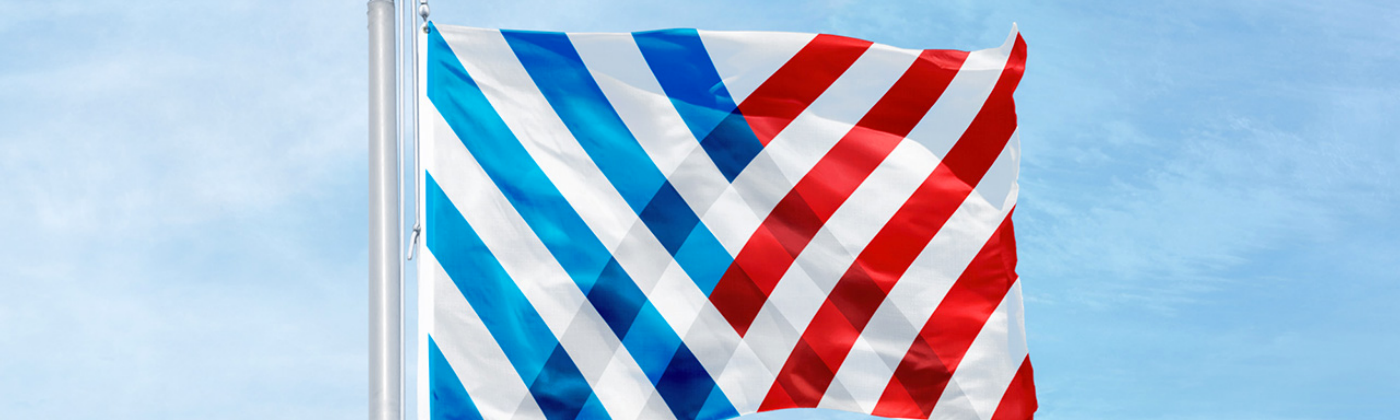 New symbol applied to a flag, flying on a flagpole. Blue and red diagonal stripes intersect from the left and right.