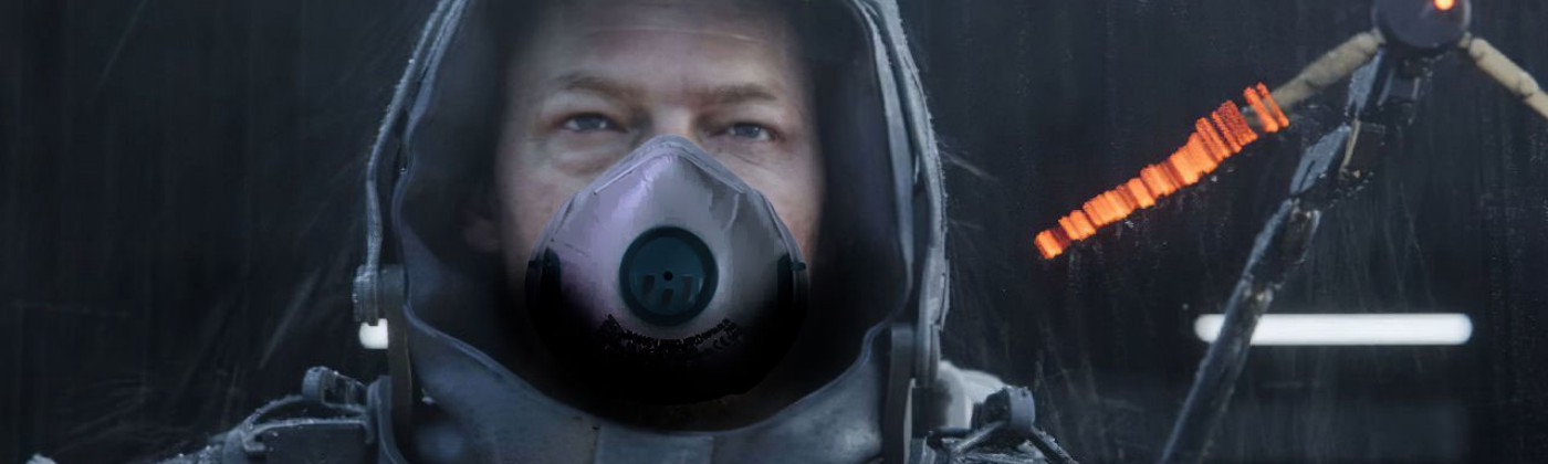Sam Portrer Bridges portrayed by Norman Redus in a video game Death Strannding, with a anti-virus mask added in Photoshop