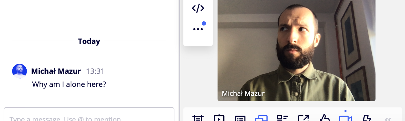 A screenshot showing text chat and video chat features of Miro placed directly within the online board.