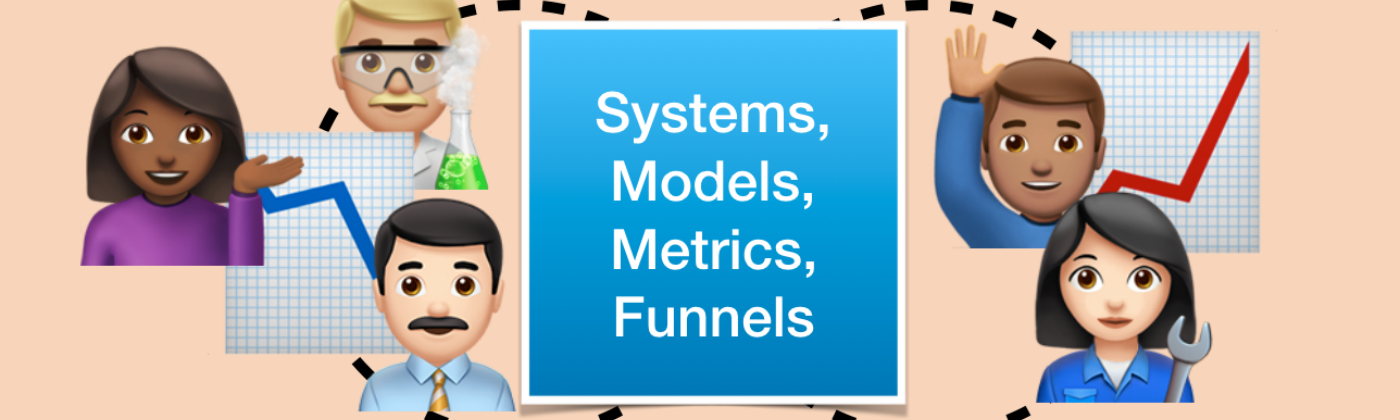 Diagram showing human avatars in the loop of Systems, Models, Metrics and Funnels