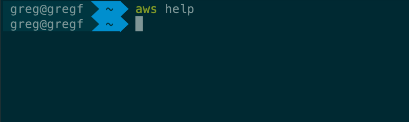 "Image of a command line terminal window with ""aws help"" typed in."