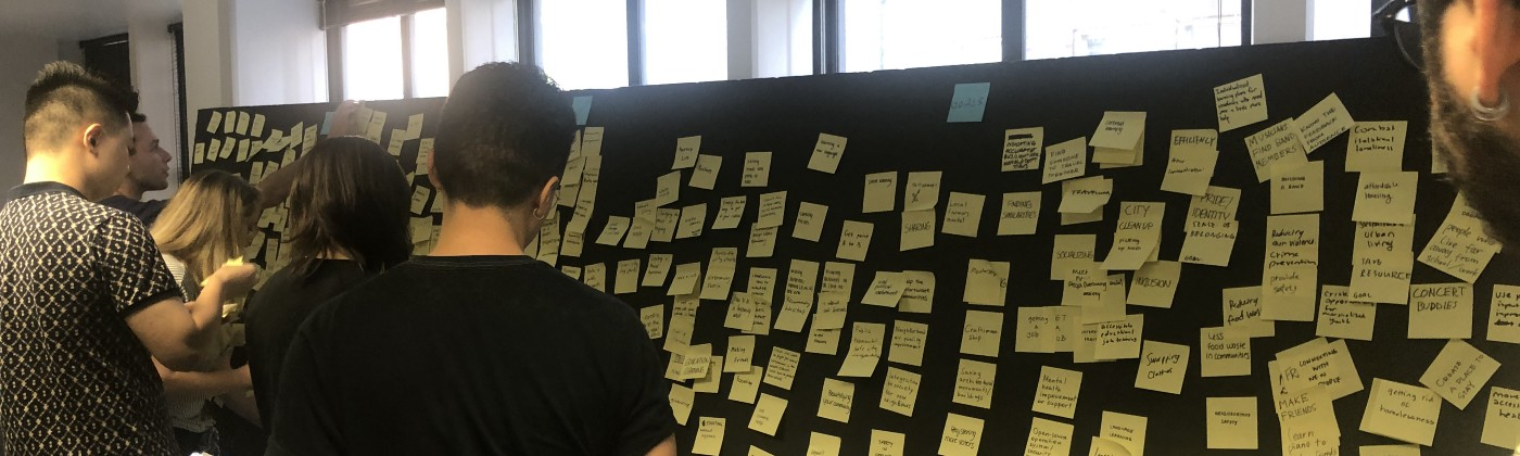A post it wall with possible ideas and areas of interest