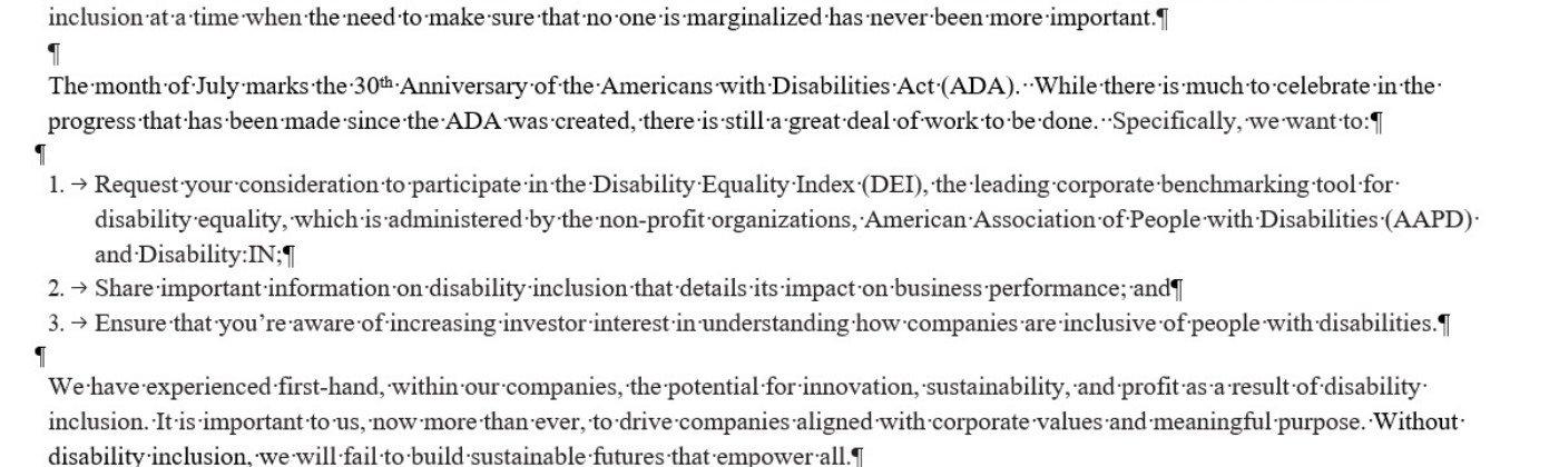 Part of first page of DisabilityIn CEO letter, link to full text in article