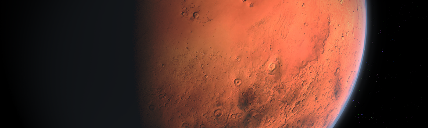 Mars, showing a little atmosphere.