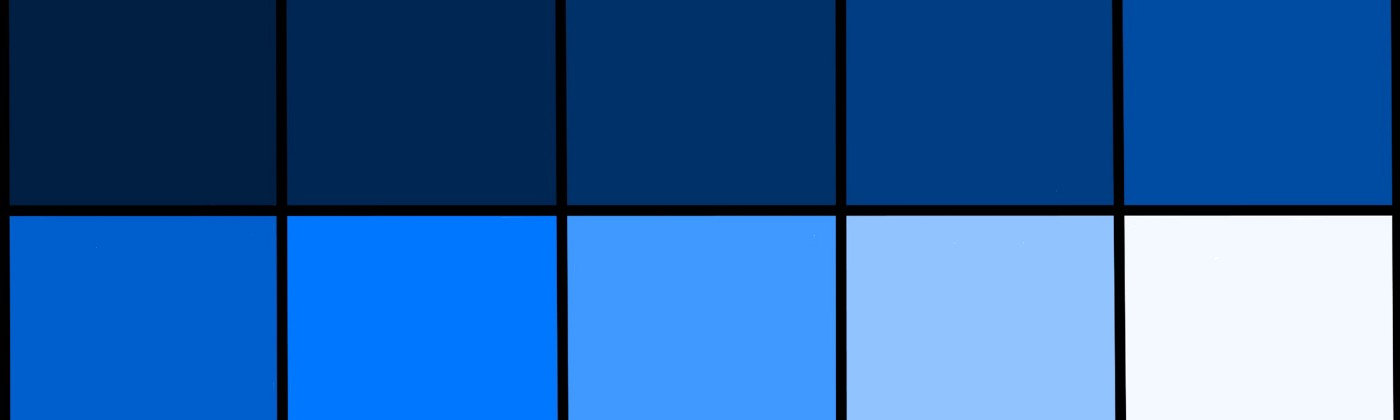 The colours used for my blue template