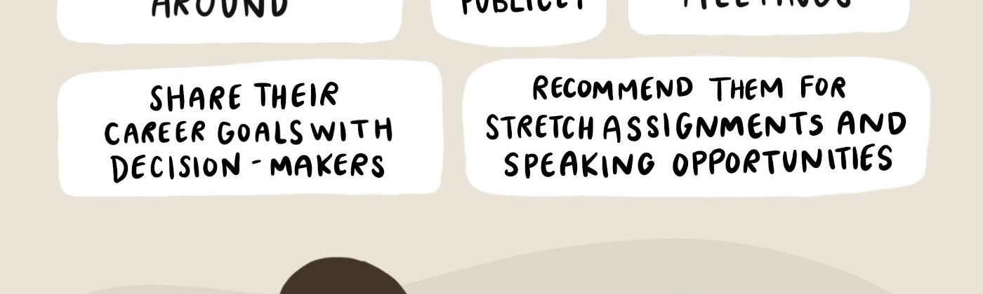 A graphic of 5 things allies can do to sponsor coworkers from underrepresented groups.