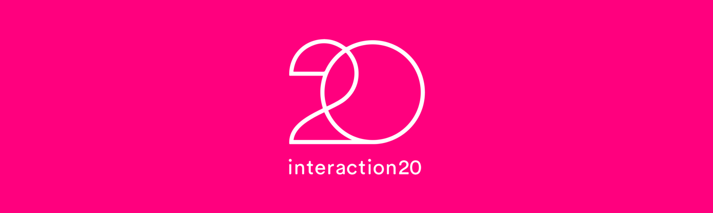 IxDA Interaction 20 Logo on a pink background.