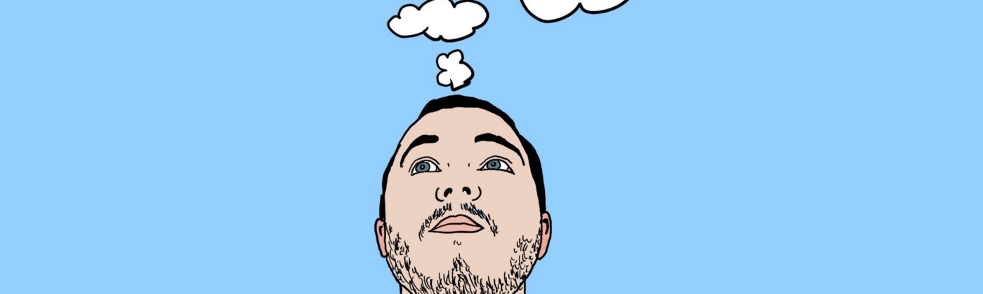 Illustration of author with thought-bubble above his head contain logos of popular apps and Notion