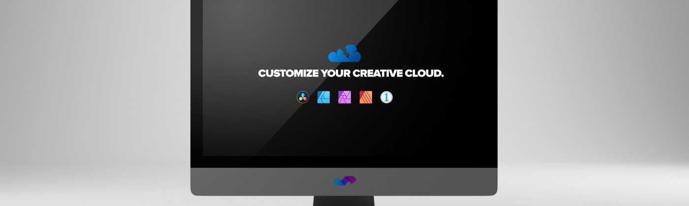 """""""Your own creative cloud"""" iMac with app icons"""