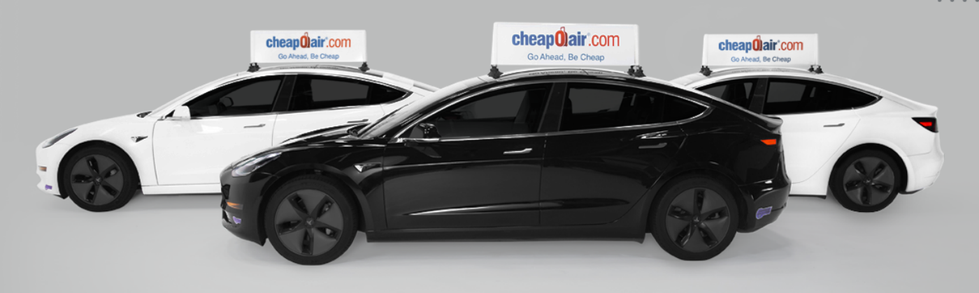 Wrapify's Rideshare Advertising Product The Static+ Rideshare Topper on Teslas in 2020