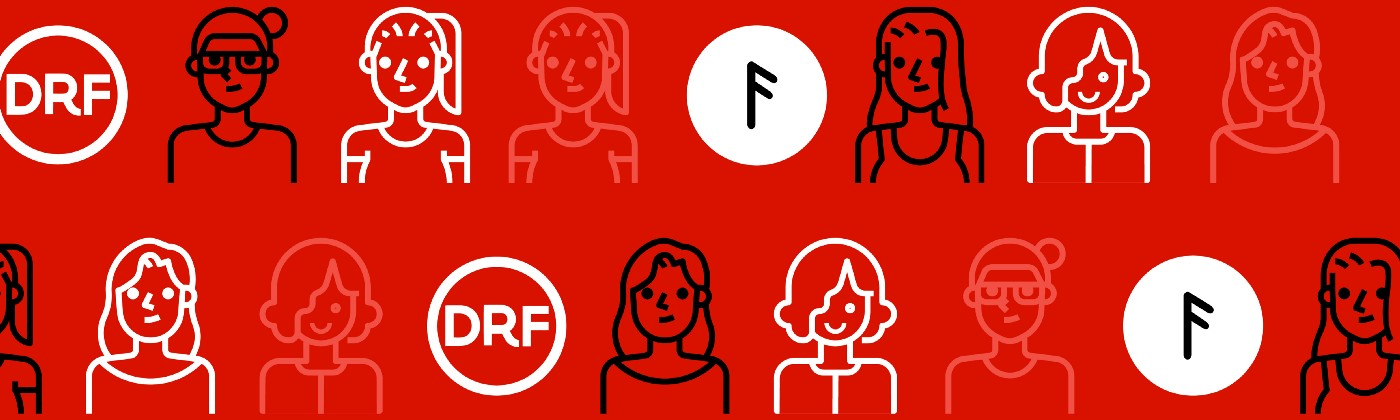 Repeating pattern of female entrepreneurs and Dorm Room Fund and Female Founders Track logos