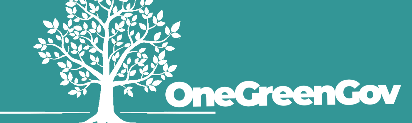 Image of a white tree with a green background and the title OneGreenGov