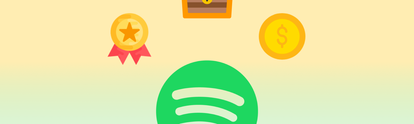 Spotify's logo, surrounded by icons for a badge, a chest, and a coin.
